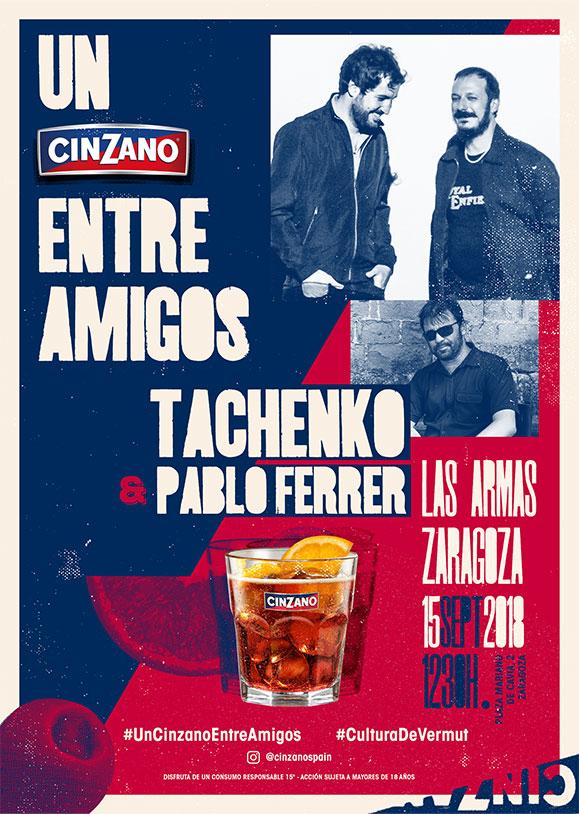 Cinzano cartel Entre Amigos Tachenko y Pablo Ferrer